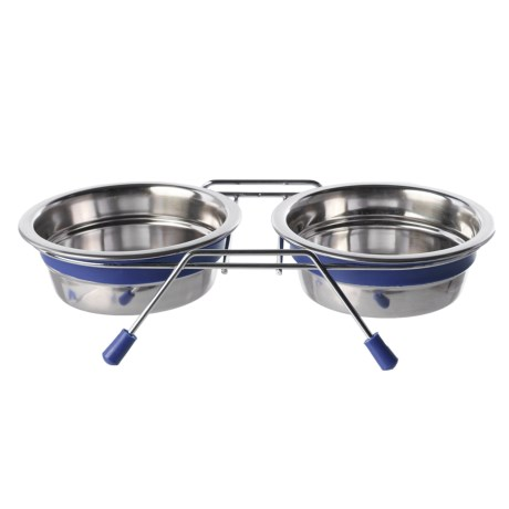 Loving Pets Silent Double Diner Dog Bowl Set - 2 qt.