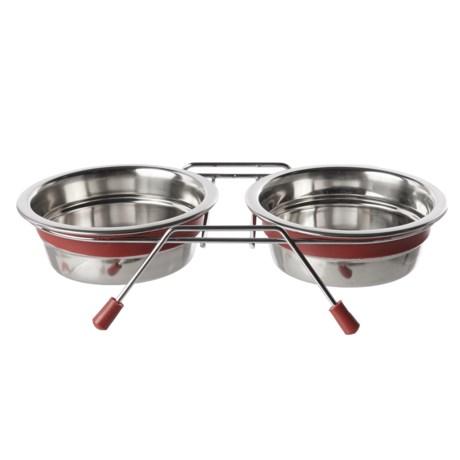 Loving Pets Silent Double Diner Dog Bowl Set - 1 Pint