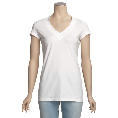 Left Coast Tee Stretch Trim Fit V-Neck Shirt - Pima Cotton, Short Sleeve (For Women)