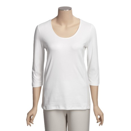 Left Coast Tee Scoop Neck Shirt - Pima Cotton, 3/4 Sleeve (For Women)