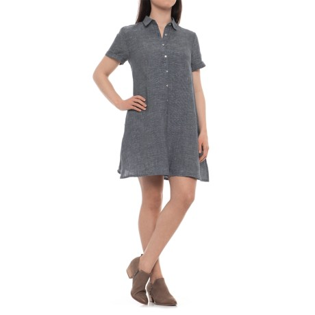 Tahari Cross-Dye A-Line Linen Dress - Short Sleeve (For Women)