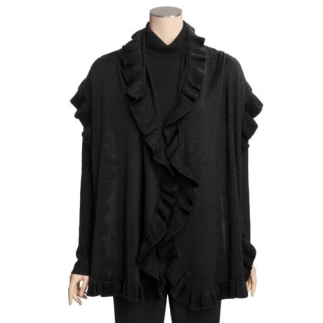 Neve Fiore Ruffled Long Wrap - Merino Wool (For Women)