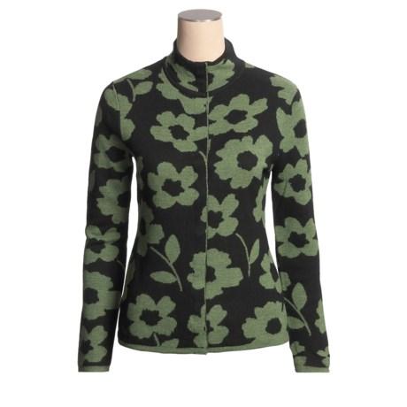 Neve Brie Cardigan Sweater - Merino Wool, Hidden Snap Front (For Women)