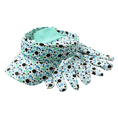 Jacob Ash Polka-Dot Visor-Glove Set - Cotton Twill (For Women)