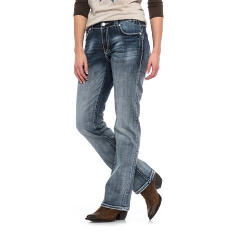 Rock & Roll Cowgirl Broken Feather Boyfriend Jeans - Bootcut (For Women)