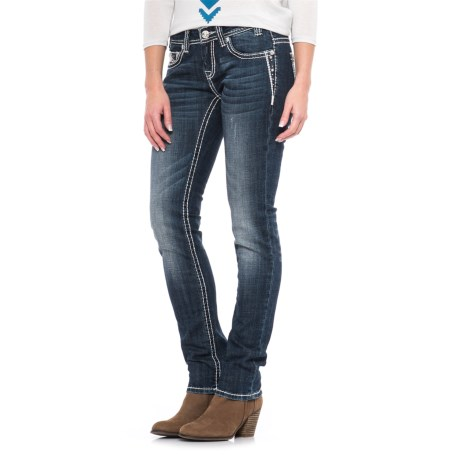 Rock & Roll Cowgirl Rhinestone Embroidery Skinny Jeans - Low Rise (For Women)