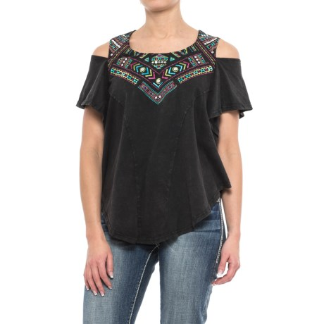 Panhandle Embroidered Cold-Shoulder Shirt - Short Sleeve (For Women)