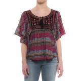 Rock & Roll Cowgirl Butterfly Peasant Blouse - Elbow Sleeve (For Women)