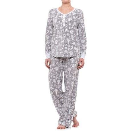 Jane and Bleecker Henley Shirt and Pants Pajamas - Long Sleeve (For Women)