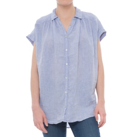 Artisan NY Solid Extended-Shoulder Shirt - Linen, Short Sleeve (For Women)