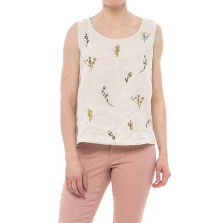 Cynthia Rowley Embroidered Scoop Neck Shirt - Sleeveless (For Women)