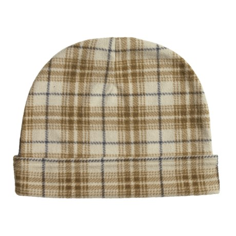 PT Sportswear Plaid Fleece Beanie Hat with Fold - Plaid (For Men and Women)