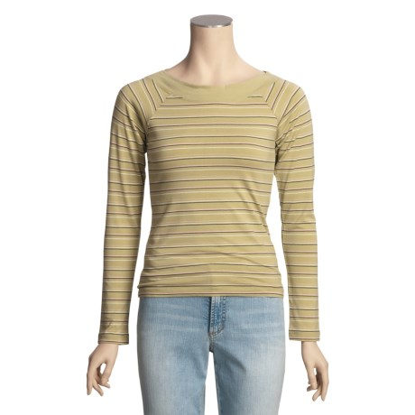 Nina Capri Striped Shirt - Boat Neck, Long Sleeve (For Women)