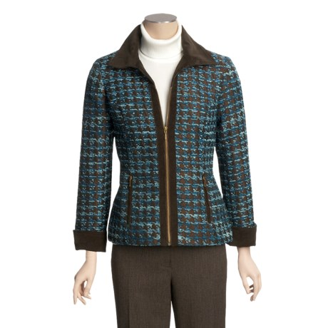 Tribal Sportswear Burnout Tweed Jacket - Zip Front, Corduroy Trim (For Women)