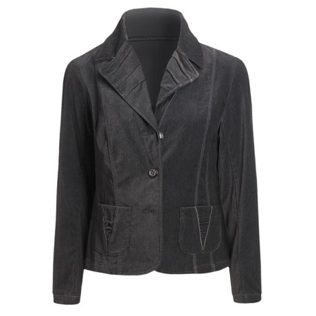Tribal Sportswear Velvety Cotton Jacket - Pleat Detail (For Women)