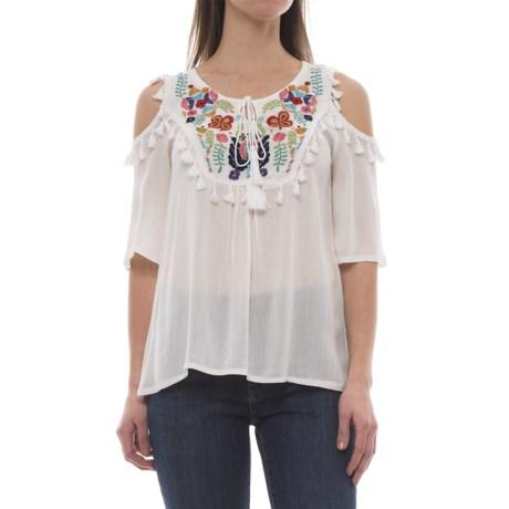 Millenium Embroidered Cold-Shoulder Shirt - Short Sleeve (For Women)