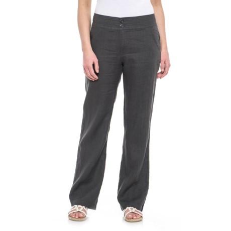 Jones New York Solid Fly-Front Pants - Linen (For Women)