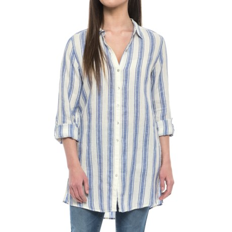 St. Tropez West Yarn-Dyed Stripe Tunic Shirt - Linen, Long Sleeve (For Women)