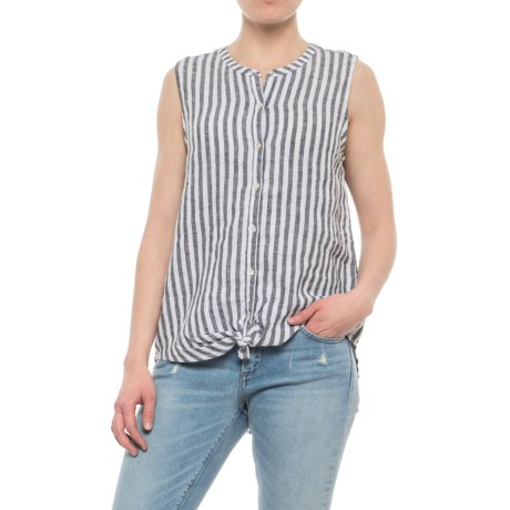 C&C California Buttoned Front-Tie Linen Shirt - Sleeveless (For Women)