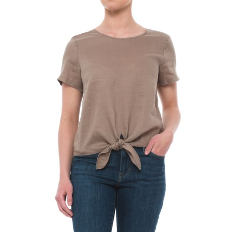 Artisan NY Solid Tie-Front Linen Shirt - Scoop Neck, Short Sleeve (For Women)