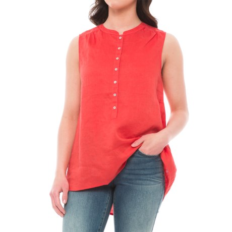 Tahari Solid Linen Popover Tunic Shirt - Sleeveless (For Women)