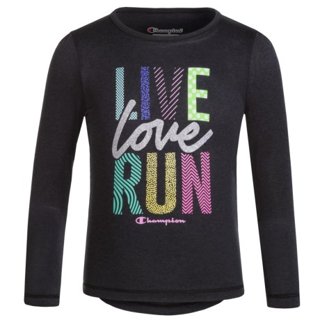 "Champion ""Live Love Run"" Graphic T-Shirt - Long Sleeve (For Toddler and Little Girls)"