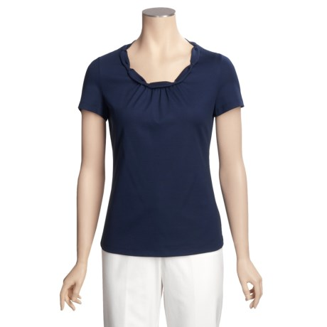 Lafayette 148 New York Tourchon Shirt - Stretch Cotton, Short Sleeve (For Women)