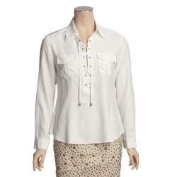 Lafayette 148 New York Lace-Up Blouse - Matte Silk, Long Sleeve (For Women)