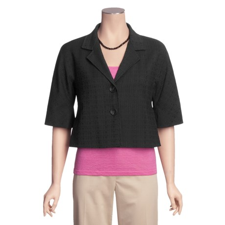Lafayette 148 New York Cropped Jacket - Cotton, Notched Collar, 3/4 Sleeve (For Women)