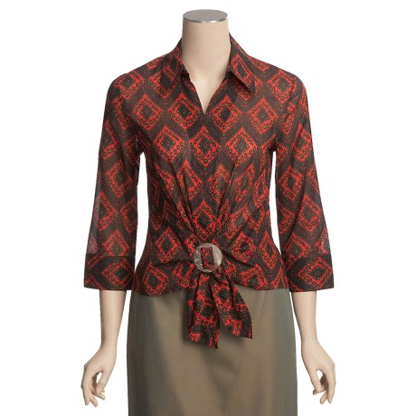 Lafayette 148 New York Cotton Shirt - Tie Front, 3/4 Sleeve (For Women)