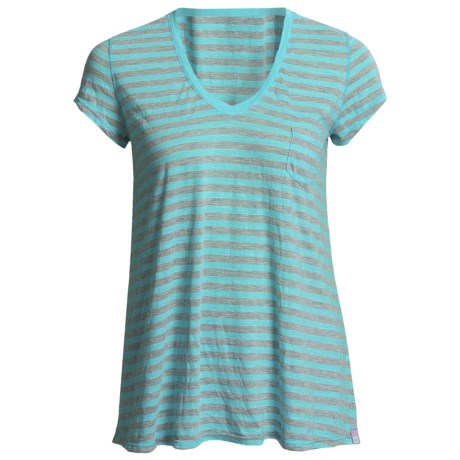 Agave Denim Cortese Boyfriend Shirt - Stripe, V-Neck, Short Sleeve (For Women)