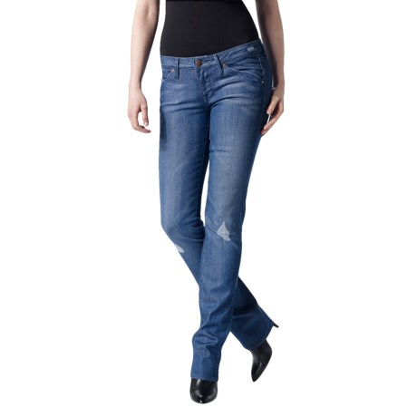 Agave Nectar Paraiso Blue Curls Jeans - Stretch Cotton, Slim Fit, Straight Leg (For Women)