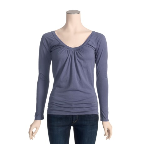 Agave Nectar Pinot Shirt - Gathered V-Neck, Long Sleeve (For Women)