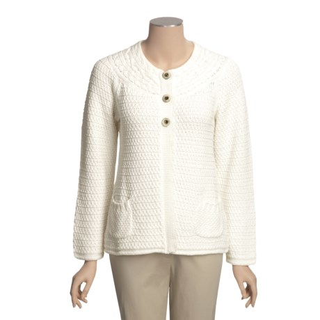 ALPS Swingtime Cardigan Sweater - Cotton, Yoke Neck (For Women)