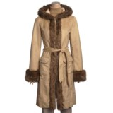 MontanaCo Faux-Shearling Trench Coat - Hooded, 3/4 Length (For Women)