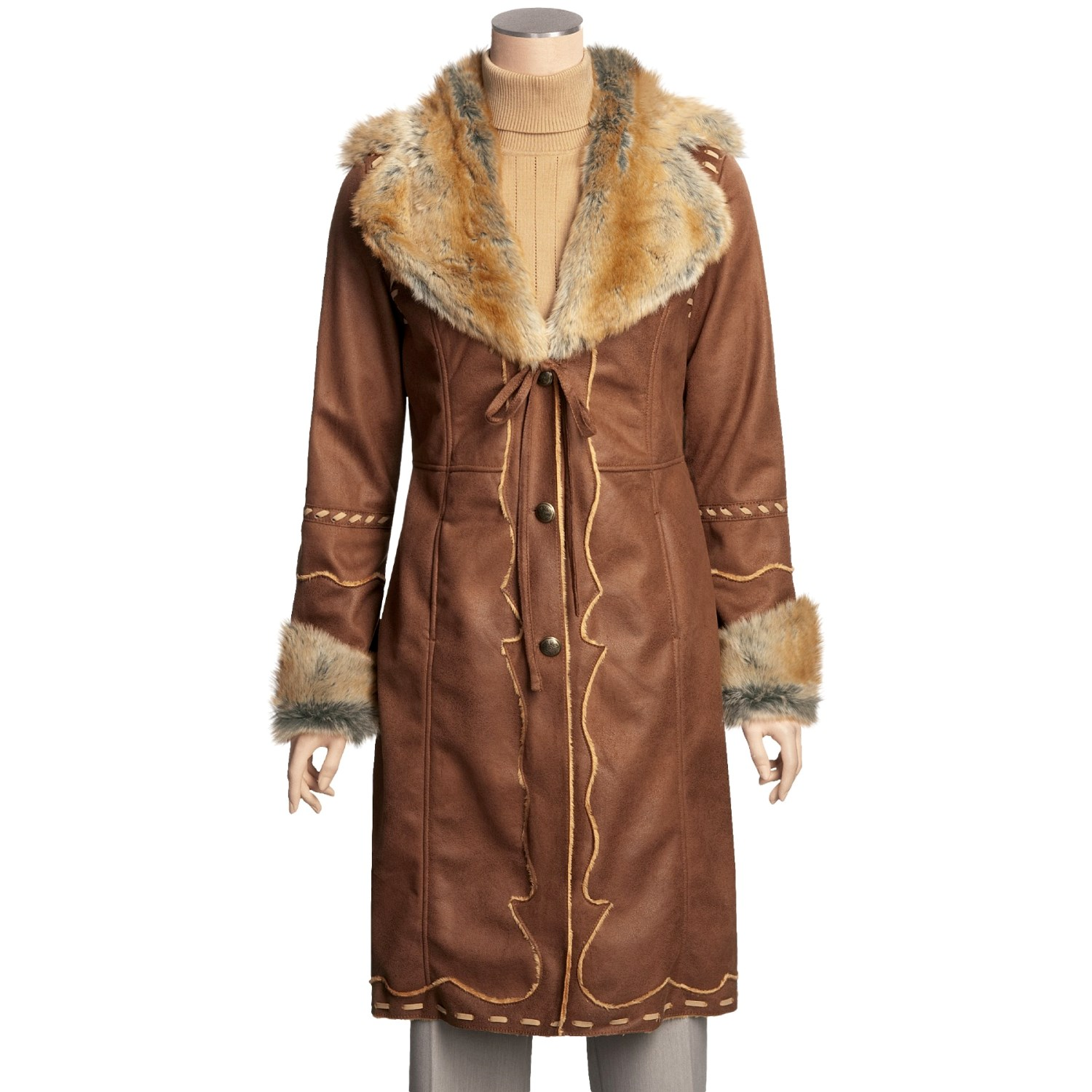 MontanaCo Faux-Shearling Coat - Full Length (For Women). Click to expand