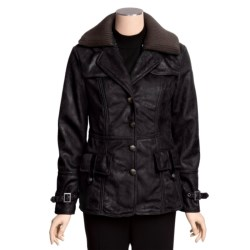 MontanaCo Faux-Shearling Barn Coat - Knit Collar Inset (For Women)