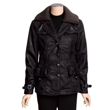 MontanaCo Faux-Shearling Barn Coat - Knit Collar Inset (For Women)