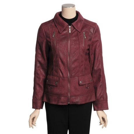 MontanaCo Faux-Shearling Jacket - Pick Stitching, Zip Front (For Women)