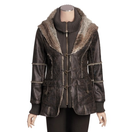 MontanaCo Faux-Shearling Car Coat - Knit Inset (For Women)