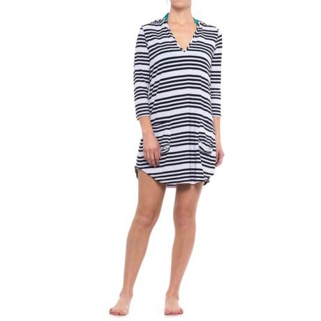 Sandiva Hooded Striped Cover-Up - 3/4 Sleeve (For Women)