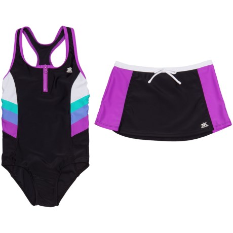 ZeroXposur Futurama Scuba Swimsuit with Skirt - Zip Neck (For Big Girls)