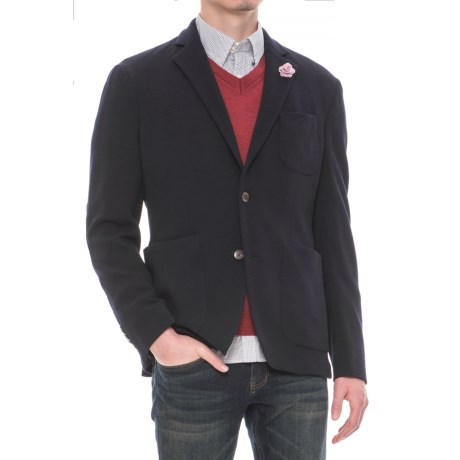 Riviera Red Unlined Jersey Blazer - Patch Pockets (For Men)