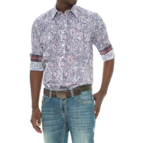 Panhandle Printed Poplin Shirt - Snap Front, Long Sleeve (For Men)