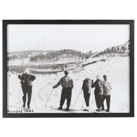 "Luxe West Vintage Skiers Overlooking Print - 18x24"""