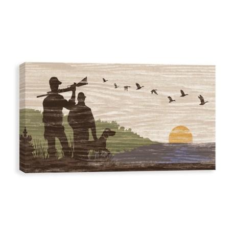"Artissimo Designs Canvas Hunters 2 Silhouette Art Print - 12x24"""