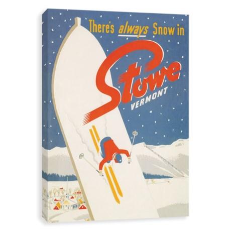 "Artissimo Designs Stowe Vermont Vintage Art Print - 18x24"""