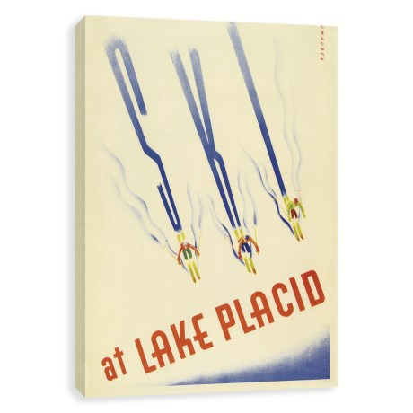Artissimo Designs Ski at Lake Placid Vintage Art Print - 18x24""