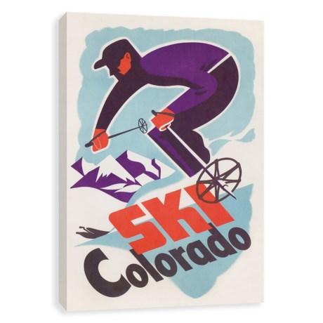 "Recessed Box Ski Colorado Vintage Art Print - 18x24"""