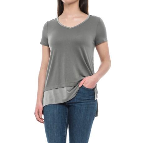 Cynthia Rowley V-Neck Layered Look Shirt - Short Sleeve (For Women)